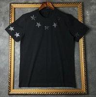 hommes t shirts etoiles achat en gros de-2019 Eté Marque Top Hommes T-shirt à manches courtes noir Blanc étoile à cinq branches T Shirt Hommes Designer t-shirt T-shirt col rond de mode TShirt