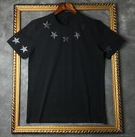 erkekler için yuvarlak boyun gömlek toptan satış-2019 Yaz Marka Üst Erkek T-Shirt kısa kollu siyah Beyaz beş sivri yıldız T Gömlek Erkekler Tasarımcı t shirt Tee yuvarlak boyun moda TShirt