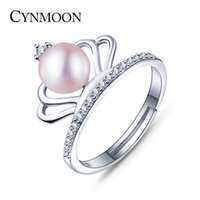 Barato Anéis Naturais Pérola Roxa-2017 The New Listings Natural Freshwater Crown Pearl Ring Aniversário Gift For Women, Pink, White, Purple Pearl Ring para escolher