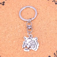 Wholesale Tiger Head Pendants - New Fashion roaring tiger head Keychains Antique Silver plated Keyholder fashion Solid Pendant Keyring gift