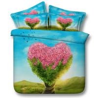 juegos de cama de árbol rey al por mayor-3 Estilos World Cup Tree 3D Juegos de cama impresos Twin Full Queen King Size Cubrecamas Ropa de cama Fundas de edredón Amante Heart Maple Pink 3 / 4PCS