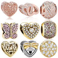 Wholesale Big Hole Beads Silver - BELAWANG 10 Styles 925 Sterling Silver Rose Gold Charm Beads Heart Shape Crystal Big Hole Bead Jewelry Fit Pandora Charm Bracelet DIY Making