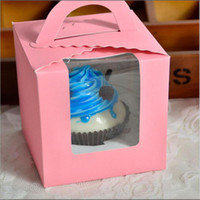 Wholesale Purple Cupcake Papers - 9.5*9.5*11cm Classic Candy Paper Box Pink White purple Green Single Packing Cupcake Box with Inner Base