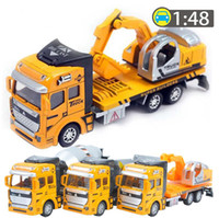 Wholesale Cement Truck Toy - 1:48 Pull Back Alloy Car Engineering Truck Model Excavators Cement Concrete Mixer Dumpers Diecasts Toy Vehicles for Children Kids