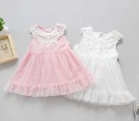 Wholesale Dot Vest Dress Korean Girls - 2017 Summer Children Girls Dress Princess Dress Korean Girl's Fower Bud Lace Dotted Dress Seeveless Vest Skirt B4621