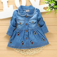 Vente en gros - 2016new Autumn Spring Casual baby Enfant enfant Enfant filles Bow Duckling cardigan à broder Robe Single-breasted