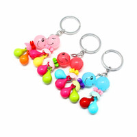 anneaux en plastique achat en gros de-Fabricants vendant petit dessin animé en plastique porte-clés 3 d porte-clés Creative joli porte-clés