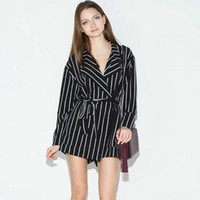 Wholesale Jumpsuits Cortos - Summer Fashion Black And White Striped Lacing Slim Waist Women Long-sleeve Jumpsuit Plus Size Monos Cortos De Mujer Rompers