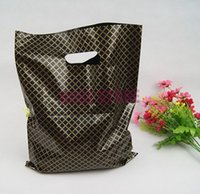 Wholesale Plastic Shopping Bags Black - Wholesale-100pcs lot 25x35cm Black Plaid Large Plastic Shopping Bags Thick Boutique Gift Clothing Packaging Plastic Gift Bag With Handle