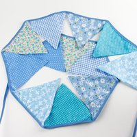 Wholesale Bunting String Flags - Wholesale- 12 Flags 3.2m Colorful Cotton Fabric Wedding Party Bunting Flag Christmas Festival Supplies Married String Flags Decoration