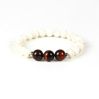 Wholesale Stone Rings Designs Men - New Designs Beaded Fashion Bracelet Wholesale 10pcs lot 10mm Natural Red Tiger Eye Stone Beads White Bracelet for men