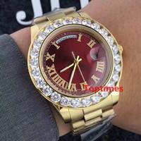 relojes grandes de ginebra al por mayor-Lujo 18K Presidente de oro Día-Fecha Ginebra Hombres Grandes diamantes Dial Bisel Reloj automático para hombres Relojes de pulsera Relojes de pulsera