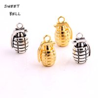 Wholesale Grenade Pendant Silver - SWEET BELL Min order 12pcs 13*22mm 3D Grenade Charms Vintage Trendy Metal Zinc Alloy Weapons Pendant for Jewelry D6128