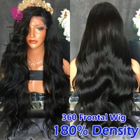 Wholesale Glueless Wig Lace Caps - 360 Lace Frontal Wigs 180% Density Brazilian Full Lace Human Hair Wigs 360 lace band frontal closure cap wigs For Black Women