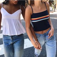 Wholesale Chromatic Fashion - European and American 2017 Summer Fashion Women Simple Chromatic Stripe Small Condole Belt Vest Sleeveless Camisoles