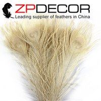 Wholesale Ivory Peacock - Hot Selling ZPDECOR 50pcs lot 25-30cm(10-12inch)bright Quality Assurance Ivory Peacock Feathers Wholesale For Wedding Decorations