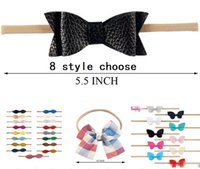 Wholesale Hair Stretch Combs - 5.5 inch Ribbon PU bowknot headdress New princess wave point floral striped baby leisure hair ornaments Stretch nylon hair band L155