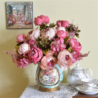 Wholesale Quality Silk Peonies - Lifelike High Quality Silk Flower European 1 Bouquet Artificial Flowers Festive Vivid Peony Wedding Home Party Decoration