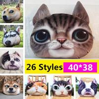 cat pillow al por mayor-3D Animal Almohada Gatos Cabeza de Perro Funda de Almohada Meow Star Fundas de cojín para Perro Gato Cara del Perro Fundas de almohada Inicio Sofá Decoración Del Coche IB233