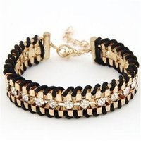 Wholesale Diamond Charms Wholesale - Fashion Charms Gold Diamond Chain Braid Bracelet Multilayer Metal Bracelet for Women European And American Trendy Jewelry