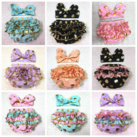 Wholesale Diaper Covers Ruffles - Girls Bloomers Headbands Set Baby Gold Polka Dot Hairband Ruffled Shorts Infant Boutique Diaper Covers Toddler Cotton Pants Underwear F441