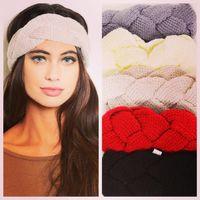 Wholesale Women Earmuffs - 18 colors Weave Braid Twining headband Woolen Knit Warm earmuffs Stretchy hair band cuff women headwear Bandanas winter Accessories 170217