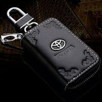 Wholesale Toyota Car Keys Remotes - Fashional Toyota Key Bag Case with lace Premium Leather Car Key Chains Holder Zipper Remote Key Bag Wallet Bags TOYOTA Logo Top Quality