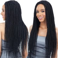 Wholesale Crocheted Wigs - Free shipping 24inch Lace Front Curly Synthetic box braids Wigs 300gram crochet braids black synthetic wigs for black women braided lace wig
