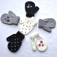 Wholesale Boys Mittens Black - kids gloves heart start knitting warm glove children boys Girls Mittens Unisex Gloves 6 Colors free shipping