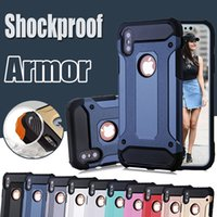 Wholesale Hybrid Steel - Steel Armor Case Dual Layer Shockproof Defender Robot Hybrid PC+Silicone Hard Cover for iPhone X 8 7 Plus 6 6S Samsung S8 S7 edge Note 8