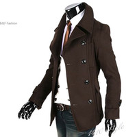 Wholesale Men S Fitted Trench Coat - Wholesale- 2011 Winter Fashion Fit Trench Men's Slim Coat Jacket Black Woolen Cloth Wholesale