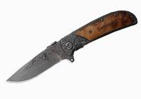 Wholesale stainless folding utility knife - EDC Tool Folding Knife 440C 57HRC Browning 338 Stainless Steel Damascus Tattoo Kageki Handle Camping actical Utility Rescue Knives B216Q