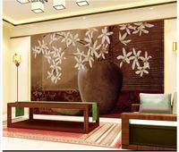 papel de parede livre para paredes venda por atacado-Murais de parede 3D papel de parede imagem personalizada mural parede 3DVase casa flor e rico papel de parede clássico 3D Mural papel de parede Frete grátis