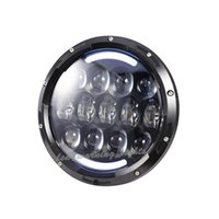 Wholesale Headlight Led Ring - Pair 7inch round headlight 105w dual sealed beam with halo ring led headlight replacement,full set with H4 to H13 connectors led headlamp