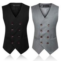 Wholesale Double Button Shirts - Newest Men's Fashion clothing Waistcoat Casual Slim Fit Stylish Cotton Vest Shirts Sleeveless