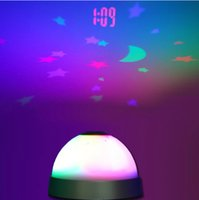 Wholesale Led Projector Clock Night Lamp - Wholesale- Stars Moon Projection Night Light Alarm Clock With LED Projector Lamp,Free Shipping