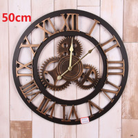 Wholesale reloj pare - Vintage Large Wall Clock d Gear Wooden Wall Clocks Watch Retro Relogio de Parede Reloj de Pared Horloge Murale Duvar Saati Klok