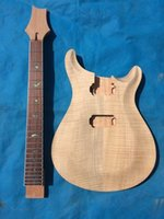 elektrik gitar setleri toptan satış-Yeni marka unfinish elektro gitar kiti alev maple top (2-3cm) CNC tarafından