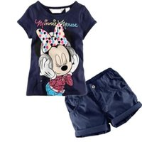 Wholesale Kids Minnie Mouse Outfit - Wholesale- 2016 Cartoon Baby Kids Boys Girls Dark Blue Minnie Mouse Tops T-Shirt + Shorts Outfits Set 1-6Y
