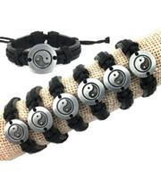 Wholesale Tai Chi Charms - Tibetan Silver Alloy Tai Chi Ying Yang Pendant Hemp Genuine Leather Bracelet Men Women Wristband Leather Bracelet