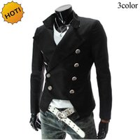 Wholesale Painting Evening Dresses - New 2017 Spring Autumn Double Breasted Evening dress Casual Suit British Slim Fit blazer men masculino designs homme brand cloth