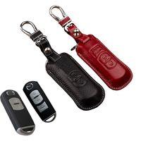 чехлы для ключей от mazda оптовых-2017 кожаный брелок чехол для Mazda 2 3 Miata 6 CX-5 2014 2015 AXELA Atenza key holder сумка аксессуары