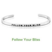 Wholesale Wholesale Bracelets Positive - Silver FOLLOW YOUR BILSS Cuff Mantra Bracelet Bangle Stainless Steel Engraved Positive Inspirational Quote Bangle 10 PCS