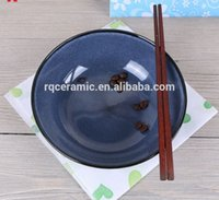 Wholesale SZQ05 HOT SALE REACTIVE GLAZE BLACK AND BLUE STONEWARE BOWL PLATE