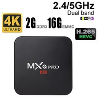Wholesale Quad Core 5ghz - MBOX MXQ PRO 4K S905 Quad-core 2G+16G Dual Wifi 5GHz Android smart Google TV Box mini pc TVaddons fully loaded play store HDMI