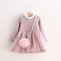 Wholesale Dress Clothes Korea - Baby Kids Clothing 2017 vintage Flower girl dresses children korea ball gowns Tutu princess costume Baby-Girls chinese winter Knitting dress