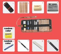 ingrosso matite di carbone d'arte-29 pz / set Portable outdoor disegno arte forniture Sketch matite caso carboncino Eraser Cutter Kit Bag Art Craft per strumenti di disegno