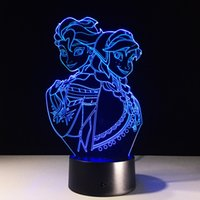 Wholesale Drop Charge - Frozen 3D Optical Illusion Lamp Night Light 7 RGB Lights DC 5V USB Charging AA Battery Dropshipping Free Shipping
