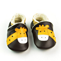 Wholesale baby first walked shoes infants online - Baby Moccasins Giraffe Velvet Winter Autumn Genuine Leather Prewalker Shoes First Walking Shoes Soft Sole Anti slip Infant Shoes
