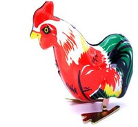 Wholesale wholesale kids collectables - Clockwork Funny Wind Up Cock Rooster Tin Toys Perfect Collectable Gift Kids Favors Classic Toys For Children YH998